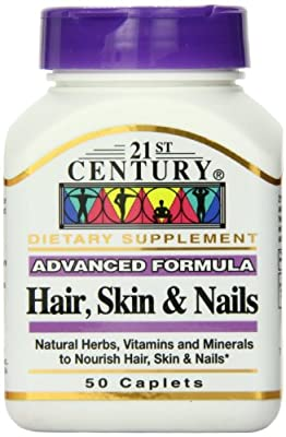 21st Century Hair, Skin and Nails Advanced Formula Caplets, 50 Count