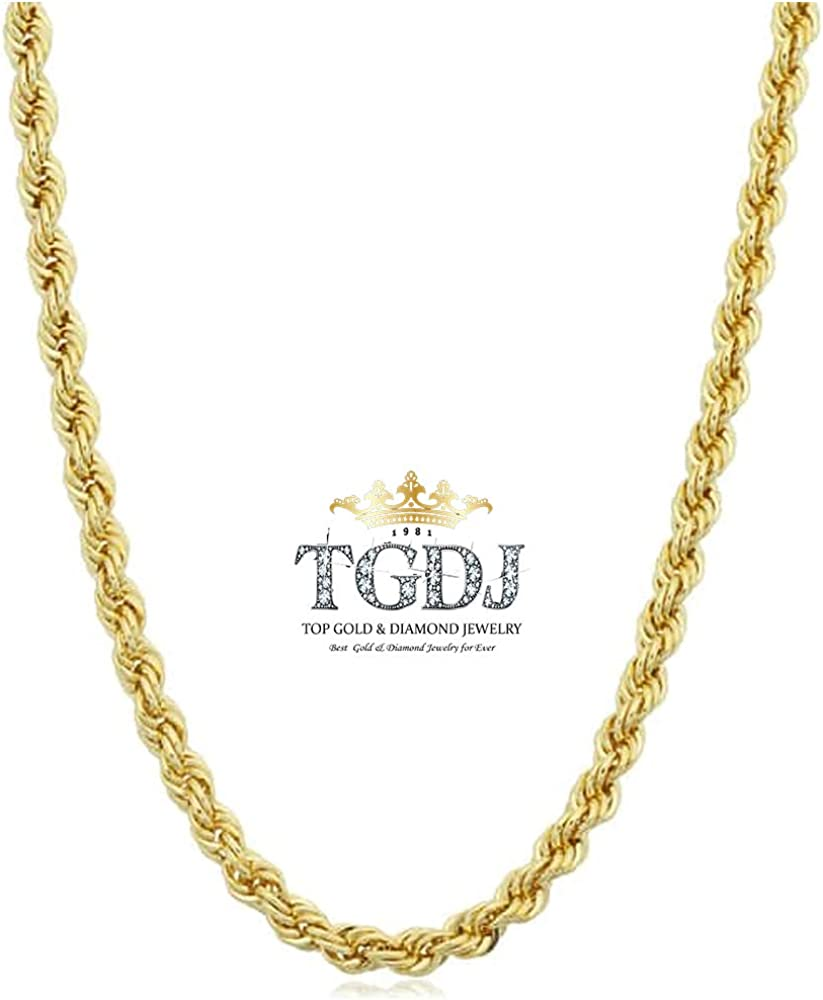 TGDJ 14k Yellow Gold Solid 2mm Polished Diamond Cut Solid Rope Chain Necklace with Lobster Claw Clasp