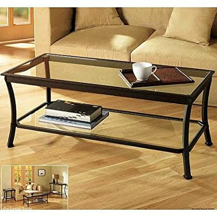 Rectangular Coffee Table With Metal Frames In Dark Bronze Finish And Clear  Glass Top   Features