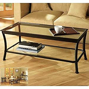 Rectangular Coffee Table With Metal Frames In Dark Bronze Finish And Clear Glass Top Features A Glass Lower Shelf For Additional Storage