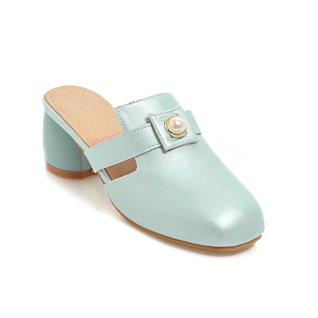 Unbekannt Sandalen Damen quadratischen Kopf Mitte der Ferse Rücktaste Flip Flop Vintage blau 42