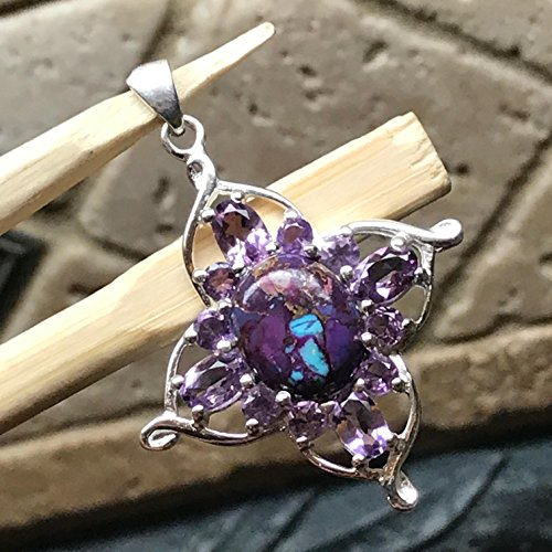 - Natural 8ct Purple Amethyst, Purple Copper Mohave Turquoise 925 Solid Sterling Silver Designer Pendant 38mm