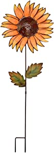 "Attraction Design Flower Garden Stake Decorative Flower Yard Stake, Sunflower Decor Metal Yard Art Decor Outdoor Garden Decoration for Patio Porch Lawn Pathway Backyard 12.2"" W x 1"" D x 36"" H"