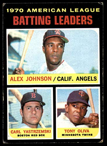 Baseball Cards Yastrzemski Carl - Baseball MLB 1971 Topps #61 Alex Johnson/Carl Yastrzemski/Tony Oliva AL Batting Leaders VG Very Good