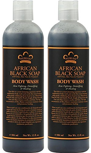 Nubian African Black Soap Body Wash (Pack of 2) With Aloe Vera and Vitamin E, 13 fl. oz. Each For Sale