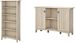 Bush Furniture Salinas 5 Shelf Bookcase in Antique White & Salinas Accent Storage Cabinet with Doors in Antique White