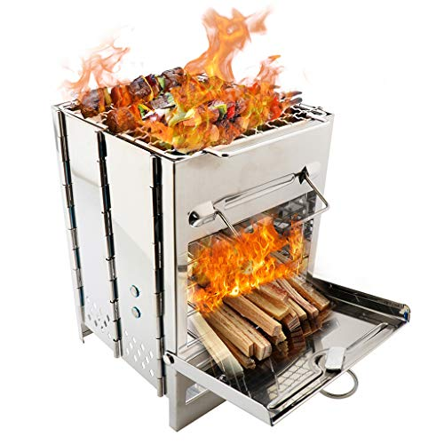 BBTshop Foldable Stainless Steel Barbecue Grill, Portable Camping Stove Camp Wood Stove Burning Backpacking Stove for Outdoor Hiking Picnic BBQ Grill Tools