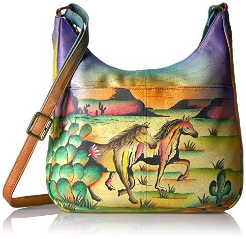 Anna by Anuschka Women's Genuine Leather Large Hobo Handbag | Hand Painted Original Artwork | Zip-Top Organizer |Arizona - Anna Hobo
