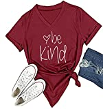 DANVOUY Womens T Shirt Casual Cotton Short Sleeve V-Neck Graphic T-Shirt Tops Tees Wine Red XX-Large