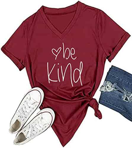 DANVOUY Womens T Shirt Casual Cotton Short Sleeve V-Neck Graphic T-Shirt Tops Tees