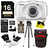 Nikon COOLPIX W100 Waterproof Digital Camera (White) with 16GB Card + Battery + Floating Strap and Bundle