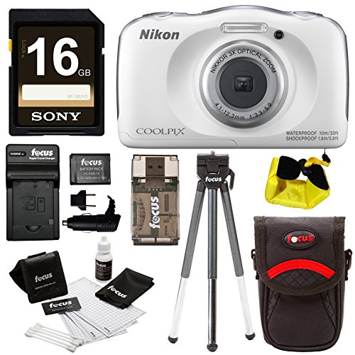 Nikon COOLPIX W100 Waterproof Digital Camera (White) with 16GB Card + Battery + Floating Strap and Bundle by Focus Camera