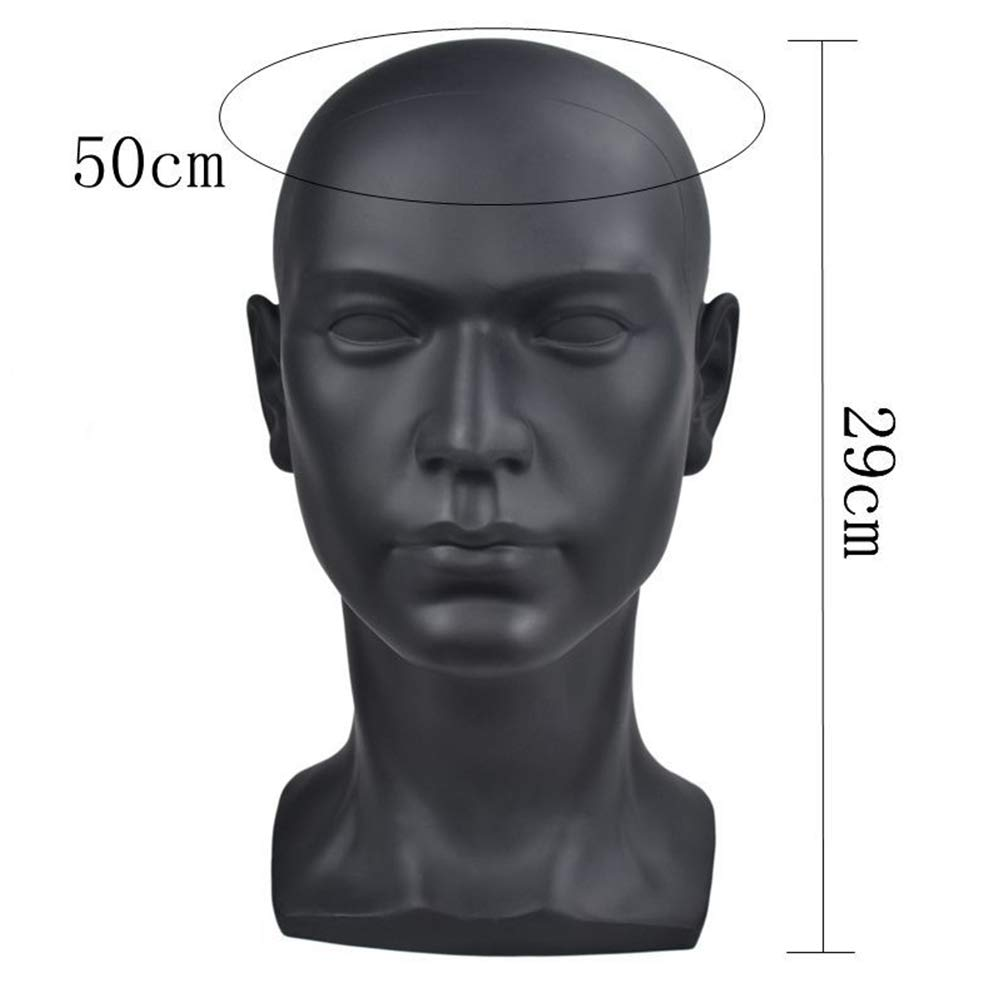 Black Professional Cosmetology Mannequin Head Manikin Head for Display Wigs Hair Glases Hat Headset Display Stand with Mount Hole