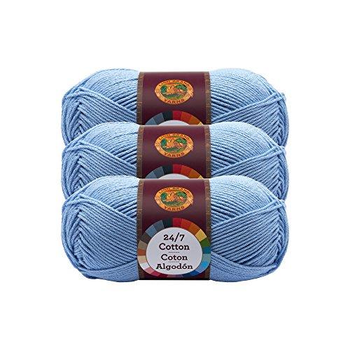 ((3 Pack) Lion Brand Yarn 761-107 24-7 Cotton Yarn, Sky)