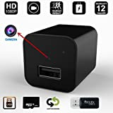 Hidden Spy Camera 16GB included 1080P HD Smart Mini USB Charger Camera Home Security Nanny Camera Adapter with Motion Detection and Loop Recording