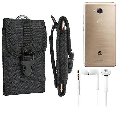 bolsa del cinturón / funda para Huawei GR5, negro + Auriculares | caja del teléfono cubierta protectora bolso - K-S-Trade (TM)