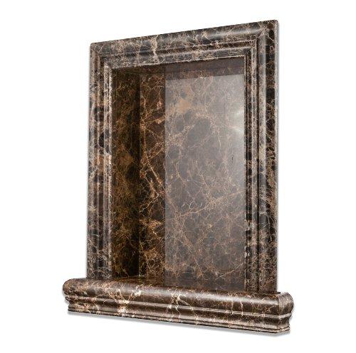 Emperador Dark Marble Polished Hand-Made Custom Shampoo Niche - LARGE