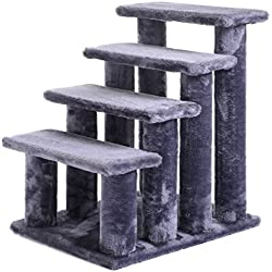 EE 21'' pet ramp cat 4-Step Stairway Perch Scratcher Stairs Dog Ladder Gray