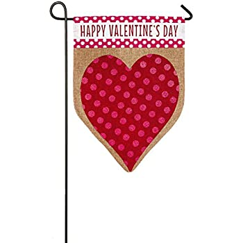 Evergreen Valentineu0027s Day Heart Burlap Garden Flag, 12.5 X 18 Inches