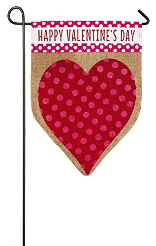 Evergreen Valentine's Day Heart Burlap Garden Flag, 12.5 x 1