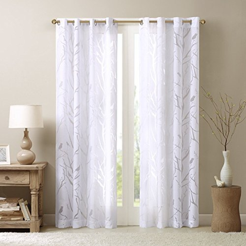 UNKN 1pc 84 White Color Sheer Bird Window Curtain Single Panel, White Color Bird Pattern Natural Feel Animal Sing Tweet Whistle Garden Theme Vibrant Stylish Grommet Top Drapes, Polyester