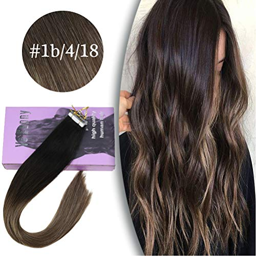 VeSunny Remy Tape in Extensions Human Hair Ombre Black Fading to Brown with Ash Blonde Highlighted Balayage Tape on Hair Extensions 20inch 20Pcs 50G
