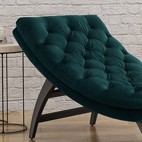 Grasby Tufted Teal Velvet Chaise Lounge