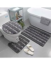 Bathroom Rug Set 3 Piece Anti-Slip & Absorbent Bath Mats for Bathroom Extra Thick & Machine Washable Bathroom Mat & Contour Mat & Lid Cover (Grey)