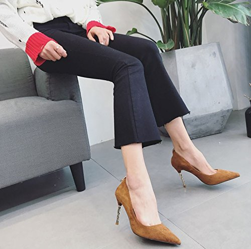 Shoes MDRW 9Cm 35 Point Shoes Brown Heels Thin Fine With Lady Match Temperament High Spring Work Fashion Elegant Leisure Shoes Look A All Work rSqBr