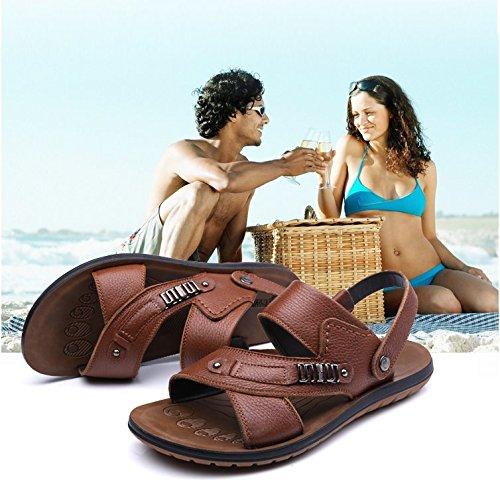 Xing Lin Sandalias De Hombre Los Hombres Sandalias De Verano De Hombres Transpirable Zapatos Casuales Tendón Antideslizante Suave Playa Sandalias Y Zapatillas, 43, Amarillo [86522]
