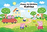 Personalized Peppa Pig Backdrop Custom Birthday Banner Party Decoration, Printed Fabric Photography Background (P0172, 12' wide by 8' tall)