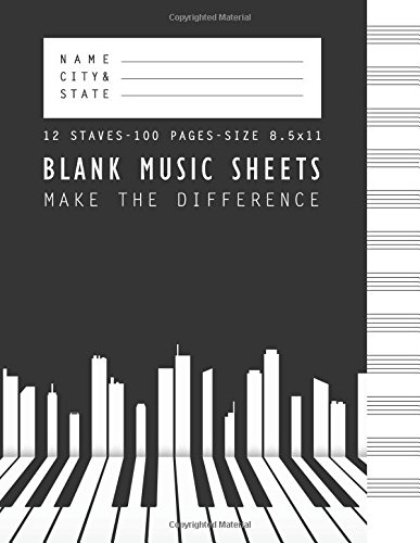 Blank Music Sheet Make The Difference: Manuscript Paper Standard Wire-Bound 12 (Standard Wirebound Manuscript Paper)