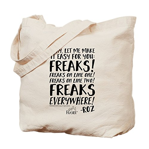 CafePress Frasier Quote: Freaks Everywhere Roz Quot Natural Canvas Tote Bag, Cloth Shopping Bag