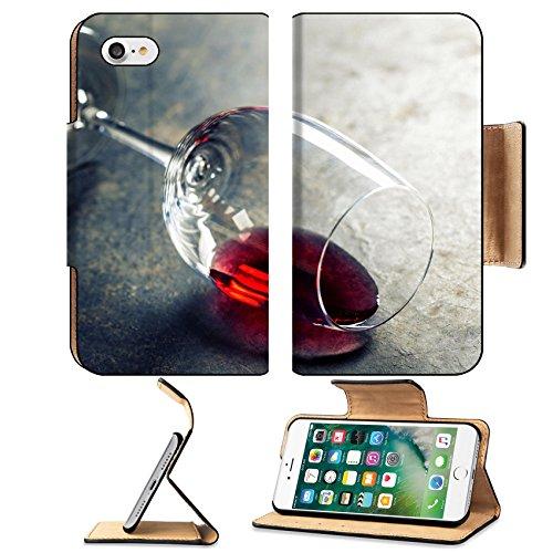 Luxlady Premium Apple iPhone 7 Flip Pu Leather Wallet Case IMAGE 34111551 Glass of red wine on dark background