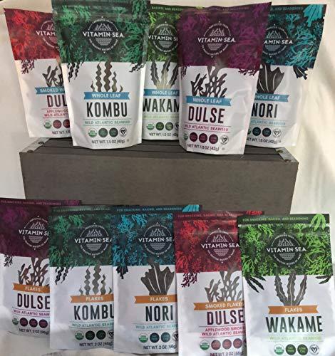 VITAMINSEA Organic Seaweed Gift Set - Flakes & Leaf - 10 / 2 oz - Dulse & Smoked - Kombu - Wakame - Nori - Atlantic Harvested Maine Coast Raw Sea Vegetables - Vegan - Kosher - For Keto Diets (GSF10P) (Sea Wakame Vegetable)