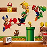 ZNU Super Mario Wall Decals Stickers DIY Removable Stick Baby Boys Girls Kids Room Nursery Wall Mural Decor