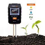 TACKLIFE Soil Tester, MST01 3-in-1 Soil Meter Accurate and Practical Gardening Tool Plant Care Tester Measure Moisture&Soil pH of Sunlight Intensity,Lawn,Farm,Plant and Herbal(Without Battery)