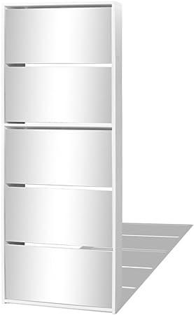 Festnight Armoire Meuble A Chaussures 5 Etages Avec Miroir Blanc 63x17x169 5 Cm Amazon Fr Cuisine Maison