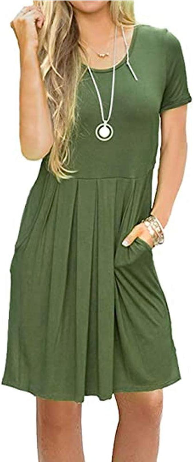 Newbestyle Sommerkleid Damen Tunika Tshirt Kleid Midikleid Kurzarm