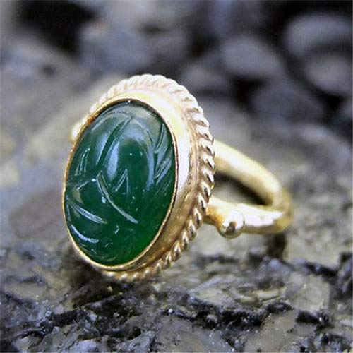 Ring Carved Designer (Ancient Design Handmade Hammered Designer Jade Carved Ring 22K Gold Over 925K Sterling Silver)