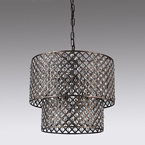 Black Brushed Bronze 2 Round Drum Shades 8-light Crystal Chandelier Ceiling Fixture