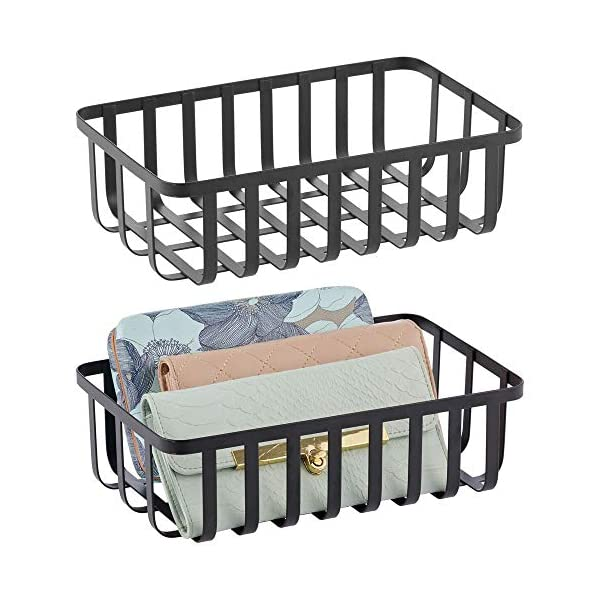 mDesign Farmhouse Metal Wire Storage Organizer, Holder Bin Basket Shelving Organization for Closet, Entryway, Bedroom, Bathroom, Home Office – 2 Pack – Black