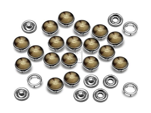 CRAFTMEmore 40 Sets 10.5MM Pearl Snaps Fasteners for Western Shirt Clothes Popper Studs (40 Sets, Brown Marble)