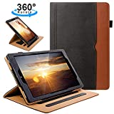 ZTOZ All New HD 10 Tablet (7th Generation,2017 Released) Cover Case with Card Slots, 360 Degree Rotating and Multi-Angle Viewing Stand with Auto Sleep Wake for 10.1 inch HD10 Tablets - Black/Brown
