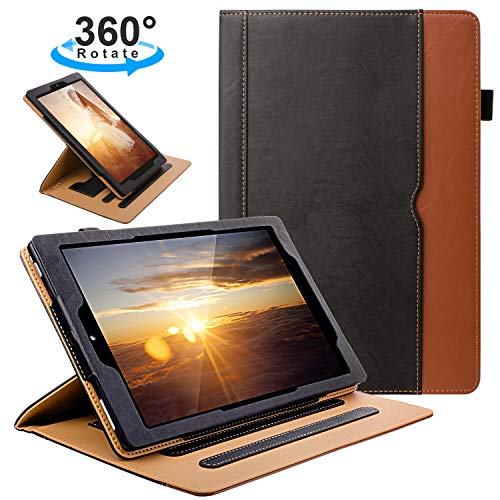 ZoneFoker Samsung Galaxy Tab A 10.5 inch 2018 SM-T590/T595 Tablet Case, 360 Degree Rotating Multi-Angle Viewing Auto Sleep/Wake Folio Stand Cover with Pencil Holder and Card Pocket - Black/Brown