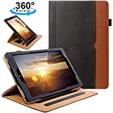 ZoneFoker All New HD 10 Tablet Leather Case(7th Generation,2017 Released), Auto Sleep/Wake 360 Degree Rotating Multi-Angle Viewing Folio Stand Cases with Pencil Holder and Card Pocket - Black/Brown