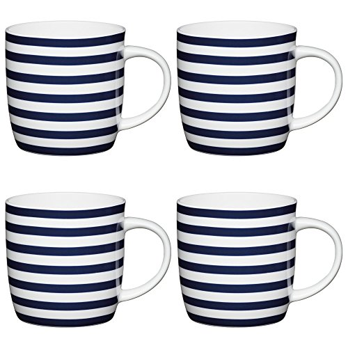 Kitchen Craft Fine Bone China 'Nautical Stripe' Classic Printed Barrel Mugs, 425 ml - Blue/White (Set of 4)