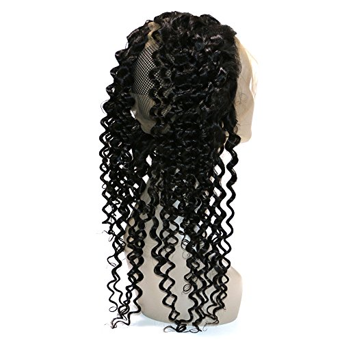 BQ HAIR Deep Curly 360 Frontal with Bundles 8A 100% Unprocessed Virgin Brazilian Human Hair -3 Bundles with 360 Lace Frontal Closure Pre Plucked (18''20''22''&16'') by BQ HAIR (Image #2)