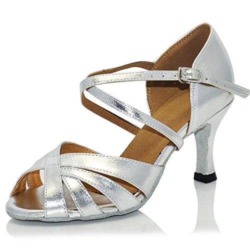 7 35 white Tamaño Zapatillas 5cm 41 Sandalias a baile de Taogo latino Ballroom Zapatos de heel mujer q6wvU4O