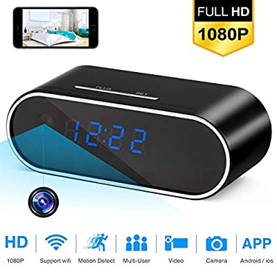 WBESEV Spy Camera,WiFi Hidden Camera Clock 1080P Video Recorder Wireless IP Camera Alarm with Motion Detection,Night Vision,Realtime Video Home Surveillance by LC Tronics